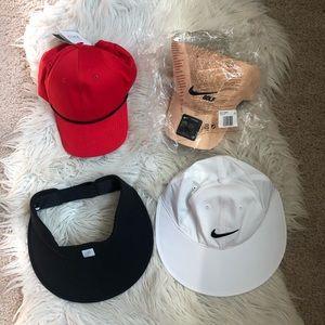 Lot of four new Nike golf cap hat visor